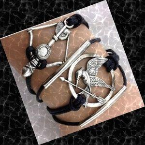 Infinity Mocking Jay Arrow Leather Charm Bracelet